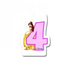 Bougie Princesses Disney chiffre 4 pour bien marquer son âge sur le gâteau d'anniversaire.