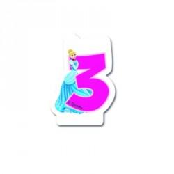Bougie Princesses Disney chiffre 3 pour le 3e anniversaire de votre adorable fillette.