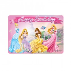 1 Bougie Princesses Disney de forme rectangle, très décorative.
