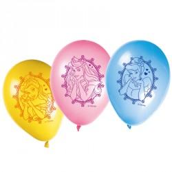 8 Ballons Princesses Disney très colorés pour une fête d'anniversaire réussie.