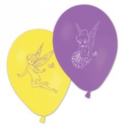 8 Ballons Fée Clochette Assortis jaunes et violets pour une décoration réussie.