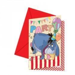 6 cartes d'invitation Winnie l'ourson + Enveloppes pour bien annoncer la couleur de la fête.