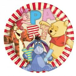 8 Assiettes Winnie l'ourson 23 cm très colorées, pratiques et festives.