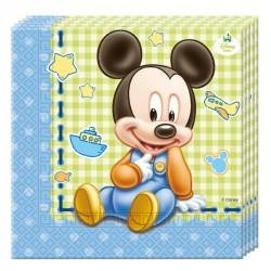 20 Serviettes Baby Mickey en papier. Pratiques et très résistantes.