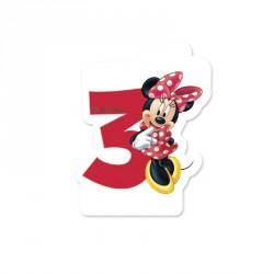 Bougie Minnie Chiffre 3 idéale pour célébrer le 3e anniversaire de votre princesse.