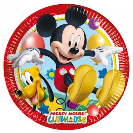 8 Assiettes Mickey 23 cm idéales pour servir les petits invités. Jolies, très pratiques et résistantes.