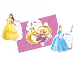 6 Cartes d'invitation Princesses Disney + Enveloppe personnalisées dans un thème féérique.