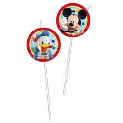 6 pailles Mickey flexibles, très pratiques pour siroter les boissons fraîches.
