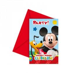 6 cartes d'invitation Mickey + Enveloppe. Réalisation et design soignés.