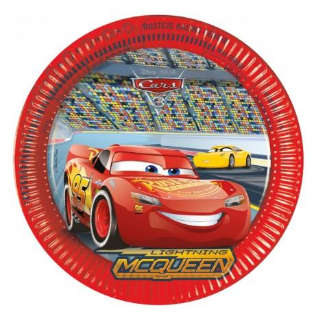 8 Assiettes Cars 23 cm pour une organisation parfaite d'un goûter d'anniversaire festif et sans souci.
