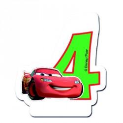 Bougie Cars Chiffre 4 pour marquer avec originalité les 4 ans de votre petit garçon.