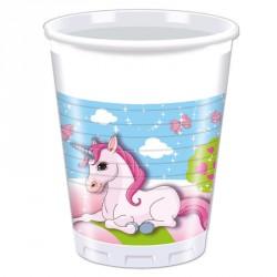 8 Gobelets Licorne 20cl pour servir les boissons lors d'un événement sur le thème licorne.