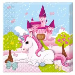 20 Serviettes Licorne en papier pour une décoration de goûter d'anniversaire sur le thème Licorne.