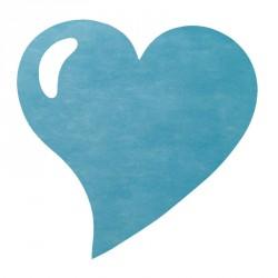 50 Sets de table cœur turquoise, en tissu non tissé polyester.