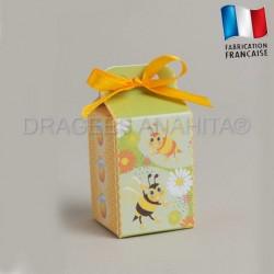 Cube à dragées baptême original thème abeille