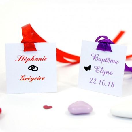 Etiquette Carrée à Imprimer Pour Mariage Et Cérémonies Dragées Anahita