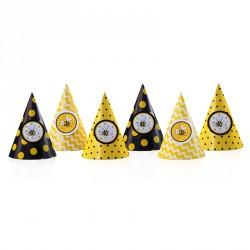 6 Chapeaux Abeille pour apporter de la couleur à la fête d'anniversaire de votre enfant.