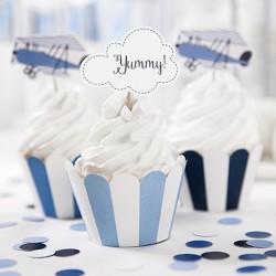 6 Cupcakes Avions pour apporter une touche d'originalité à vos pâtisseries lors d'une fête organisée autour du thème pilote.