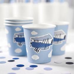 6 Gobelets Avion en carton pour décorer votre buffet sur le thème avion.