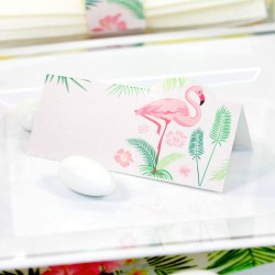 10 cartes de table Flamant Rose