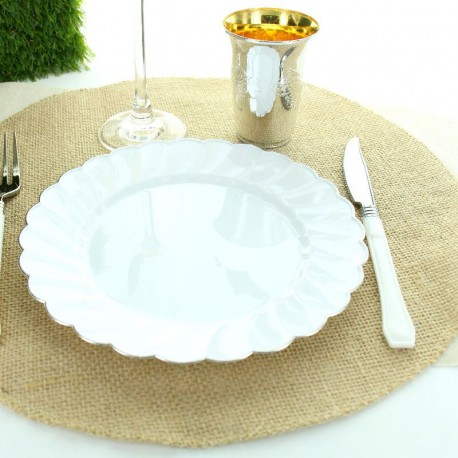 4 Sets de table rond en toile de jute