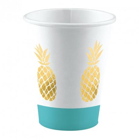 8 Gobelets en carton Ananas pour apporter une touche exotique et élégante à vos tables.