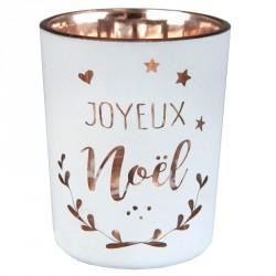 Photophore Coeur de Noël métallisé pour apporter de la chaleur et de la lumière à la décoration de votre table.