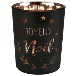 Photophore Coeur de Noël métallisé Noir pour offrir un décor stylé et élégant à votre table de Noël.