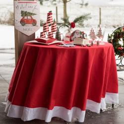 Nappe Noël Rouge et blanche pour habiller votre table aux couleurs de Noël.