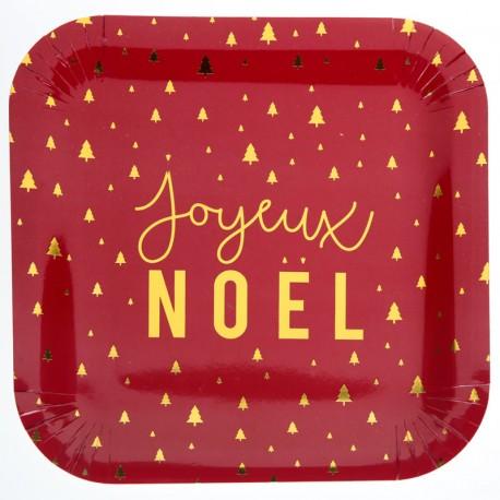 Assiette Joyeux Noël Rouge et Or pour créer une table conviviale à un repas de Noël.