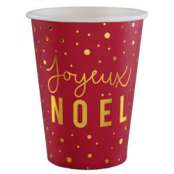 Gobelet Joyeux Noël Rouge et Or pour bien réussir son art de la table au repas du réveillon.