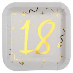 10 Assiettes Anniversaire 18 ans blanc et or pour une table d'anniversaire festive, raffinée et originale.