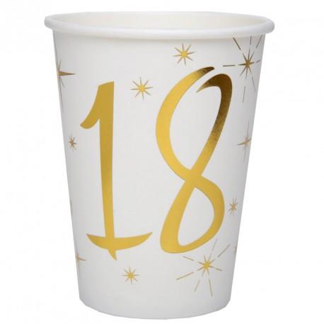 10 Gobelets Anniversaire 18 ans blanc et or pour une décoration de table d'anniversaire unique et stylée.