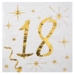 20 Serviettes Anniversaire 18 ans blanc et or pour une décoration de table de fête raffinée et élégante.