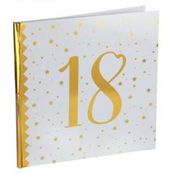 Livre d'or Anniversaire 18 ans blanc et or pour faire de votre anniversaire un moment inoubliable.