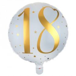 Ballon Alu Anniversaire 18 ans blanc et or pour une salle de fête d'anniversaire festive et élégante.