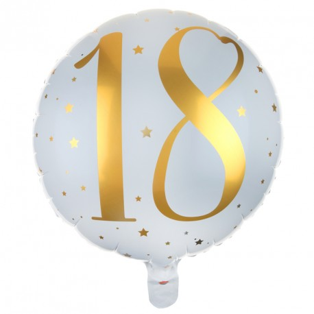 Ballon Mylar Anniversaire 18 Ans Blanc Et Or Original Dragées Anahita