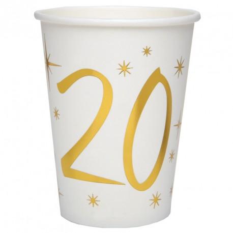 10 Gobelets Anniversaire 20 ans blanc et or pour une table de fête résolument chic et moderne.