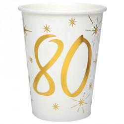 10 Gobelets Anniversaire 80 ans blanc et or pour servir les boissons à vos invités.