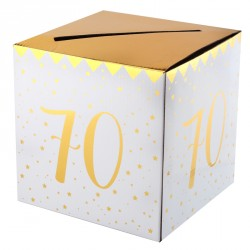 Tirelire Anniversaire 70 ans blanc et or pour compléter avec élégance votre décoration de salle.