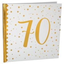 Livre d'or Anniversaire 70 ans blanc et or pour faire de votre anniversaire une fête vraiment inoubliable.
