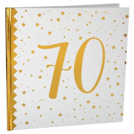Livre D Or Anniversaire 70 Ans Blanc Et Or Elegant Dragees Anahita