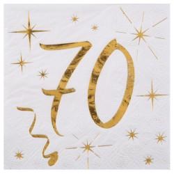20 Serviettes Anniversaire 70 Ans Blanc Et Or