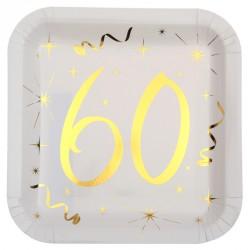 10 Assiettes Anniversaire 60 Ans Blanc Et Or