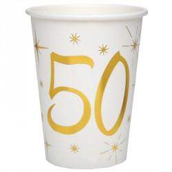 10 Gobelets Anniversaire 50 ans blanc et or pour compléter avec style votre lot de vaisselles dans la même couleur.