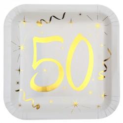 10 Assiettes Anniversaire 50 ans blanc et or pour donner de l'élégance aux tables.