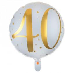 Ballon Alu Anniversaire 40 ans blanc et or pour décorer votre salle de fête et espaces extérieurs.
