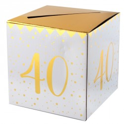 Tirelire Anniversaire 40 ans blanc et or conserve avec style les enveloppes-cadeaux laissées par vos invités.