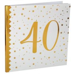 Livre d'or Anniversaire 40 ans blanc et or, l'objet souvenir à garder près de soi.