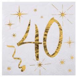 20 Serviettes Anniversaire 40 ans blanc et or pour une décoration de table réussie.